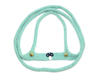 hand felted horse leash mint/mushroom, 100% new wool, horse harness for kids, reins, movement play, role play, outdoors, toy