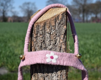 hand felted horse leash blossom, 100% new wool, horse harness for kids, reins, movement play, role play, outdoors, toy