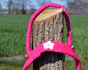 hand felted horse leash pink/blossom, 100% new wool, horse harness for kids, reins, movement play, role play, outdoors, toy