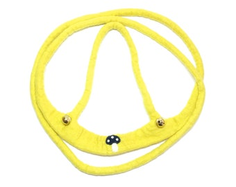 hand felted horse leash yellow/mushroom, 100% new wool, horse harness for kids, reins, movement play, role play, outdoors, toy