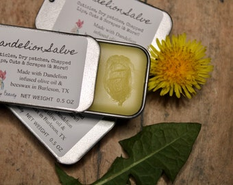 Dandelion Salve   0.5 oz Slider Tin   Great for cuticles, cuts, scrapes, chapped lips, dry skin etc.