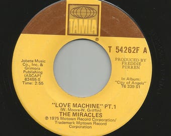 "THE MIRACLES - Love Machine Pt. 1 / Pt. 2 on Tamla T54262F  7"" Vinyl 45 rpm 70's Funk / Soul"