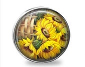 SET Of 2 Gorgeous Country Sunflower Basket Nickel Silver GLASS Cabinet Drawer Knob Pulls Also available in Vtg. Gold or Gold Brass