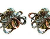 SET of 2 Gorgeous Golden Bronze Copper Patina Steampunk OCTOPUS Kraken Nautical Cabinet Drawer Bifold Closet Door Bi Fold Knob Pulls