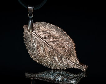 Nature inspired jewelry Metal leaf pendant Electroform copper necklace Fall leaf charm Gardener gift Bohemian botanical jewelry
