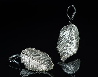 Silver plated leaf earrings Woodland wedding boho Fantasy elven jewelry LOTR botanical Statement long earrings Hypoallergenic Bridal jewelry