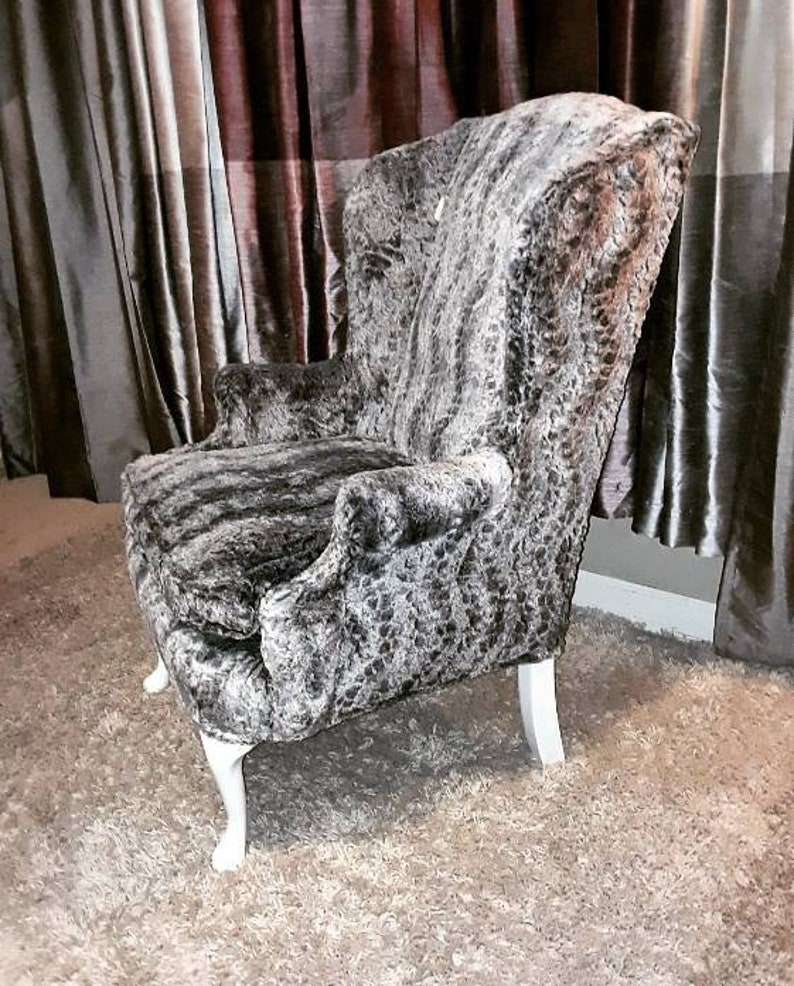 Remarkable Silver Fur Wingback Chair Queen Anne Chair Faux Rabbit Fur Grey White Plush Luxury Faux Fur Machost Co Dining Chair Design Ideas Machostcouk