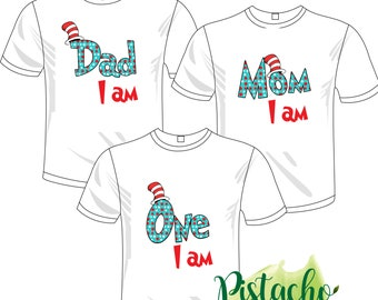 cea25c560 Mom I am, DAD I am & ONE I am Clip art- Transfer iron on- Digital file-  Instant download- Matching family T-shirts DIY - Thing