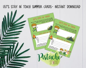 Printable Let's Stay In Touch Card- Summer Break- Kids- Summer-  Summer Friends Contact- Friends School Contact- Instant Download