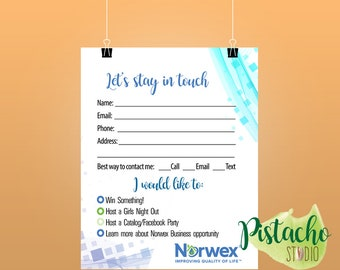 Norwex Printable Enter to Win cards- Let's stay in touch- Consultant – Customer Contact card