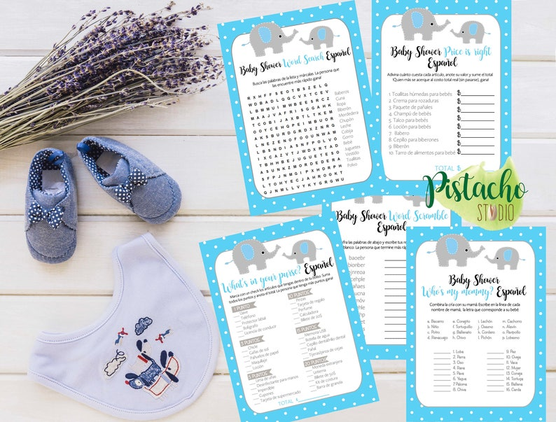 Boy Baby Shower Games tile  polka dots cute elephant Instant Download Baby shower games SPANISH- ESPA\u00d1OL Light Blue and gray.