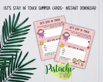 Printable Let's Stay In Touch Card- Girl- Summer Break- Kids- Summer-  Summer Friends Contact- Friends School Contact- Instant Download