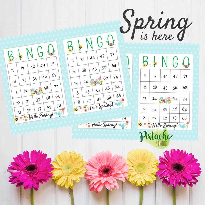 picture relating to Spring Bingo Game Printable titled Spring is in this article Printable BINGO, Instantaneous Obtain, Clroom children Good day Spring game, Welcome Spring BINGO sport. 50 playing cards