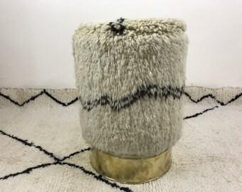 Stool Floor cushion - Berber Stool cushion - Stool Side table - Foot rest - Beni ourain Floor cushion  Made fom Moroccan rug boho