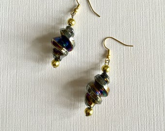 Black and Gold Beads. -  Drop and Dangle Earrings