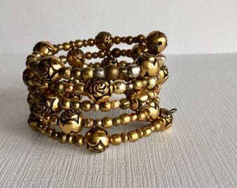 Gold Toned & Brass Beads ..  Wrap Around Memory Wire Beaded Bracelet
