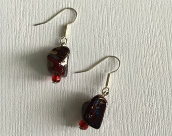 Red and Gold Beads. -  Drop and Dangle Earrings