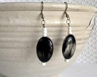 Large Black and White Beads - Drop and Dangle Beaded Earrings