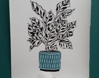 Houseplant print Peacock plant print in midcentury pot.Plant linoprint. Linocut print. Print for houseplant lovers.