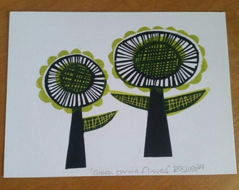 Green Spring Flowers. Midcentury style Flowers. Two Flowers. Retro wall art. Flower linoprint. Green and black flowers.