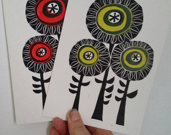 Handmade cards. Flower cards Pack of two handprinted cards.  Greeting cards. Blank cards. Red flower card green flower card.