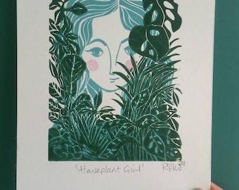 Houseplant Girl. Girl with Houseplants print. Houseplant linoprint. Houseplant wall art.