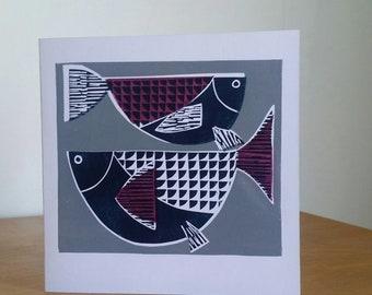 Fish Card. Greetings Card. Midcentury Fish. Handprinted Card. Two Fish. Pisces Card. Linoprint Card. Fish Linocut.