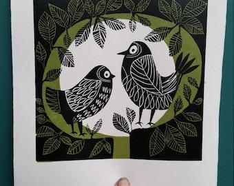 Two cheeky birds. Bird linoprint. Two birds in a tree. Midcentury style bird print. Print for bird lovers