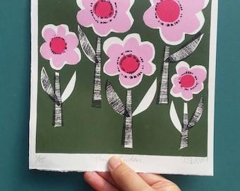 Pink Flower garden. Flower print. Relief print. Original Linoprint. Pink flowers print. Midcentury style print. Linocut print.