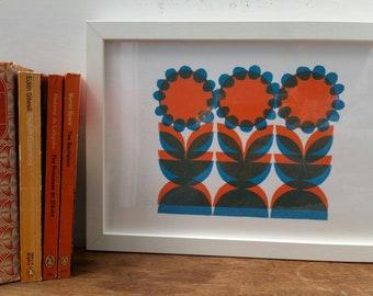 Flower trio Linoprint. Flower Print. Midcentury flower print. Geometric flower print. Orange flower Print. 70s style print. Retro print.