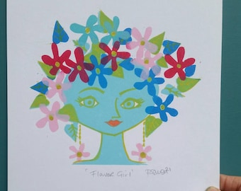 Flower Girl. Sixties girl. Girl with Flower headdress. Sixties print. Linoprint. Midcentury modern print. Retro wall art. Sixties art.