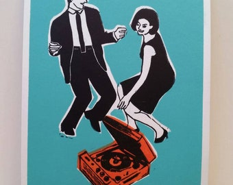 Groovy print. Dancing couple. Midcentury party print. Mod couple. Sixties record player and couple dancing. Retro party.