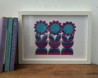 Flower trio. Magenta and blue Flower print. Midcentury style print. Three flowers. Geometric flowers. Retro print. 70s style print. Linocut.