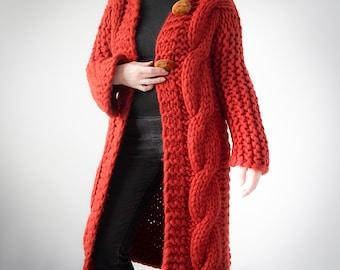 Handmade chunky merino wool cardigan