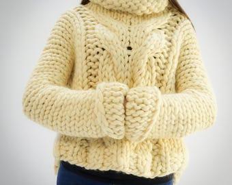 Handmade knitted  chunky 100%merino wool pullover