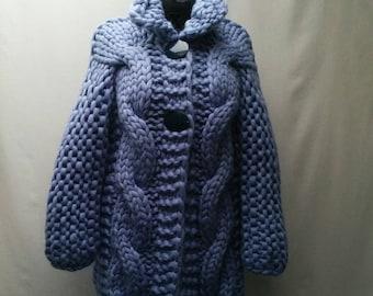 Handmade knitted chunky 100% merino wool cardigan