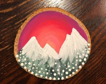 Mountain Sunset Wood Slice Magnet