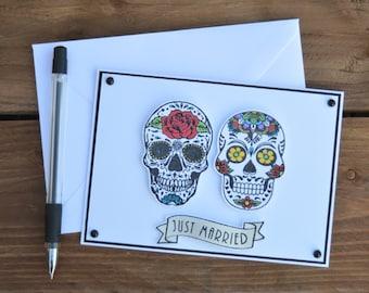 6bc5032c Skull Wedding Card - sugar skull card, gothic wedding card for alternative  couple, just married card
