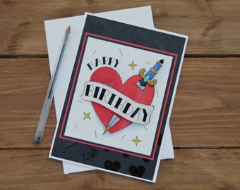 b8d2ea47c4039 Tattoo Birthday Card - 3D traditional tattoo art greetings card, gothic birthday  card for women, handmade heart card