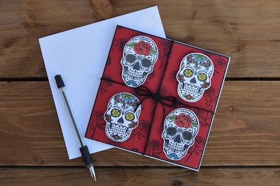 Sugar Owl Skull Black Hand Silk Screen Printed Print Greetings Birthday Card