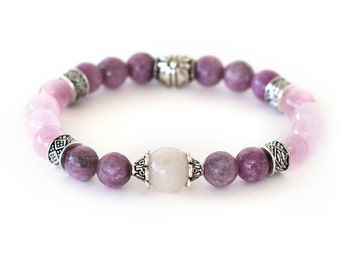 *VERY RARE SATURATED PINK LITHIUM QUARTZ POLISHED CALMING CRYSTAL BEAD BRACELET*