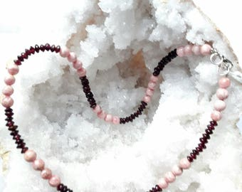 Necklace garnet red rhodochrosite-20% for the mother's day