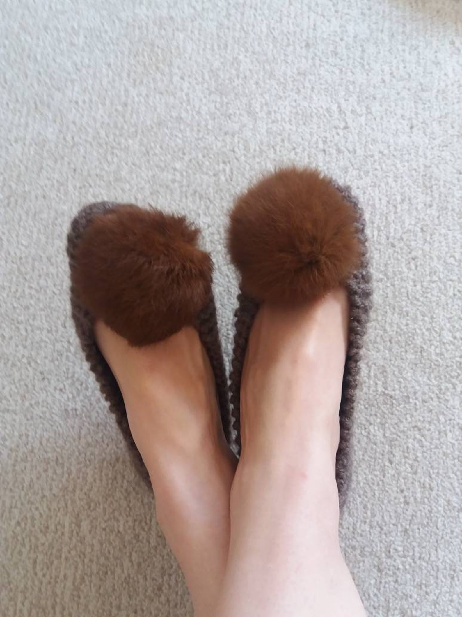 knit slippers, brown slippers, slippers with real fur pompom, indoor shoes, ballet shoes, women knit socks, knit socks, wool kni