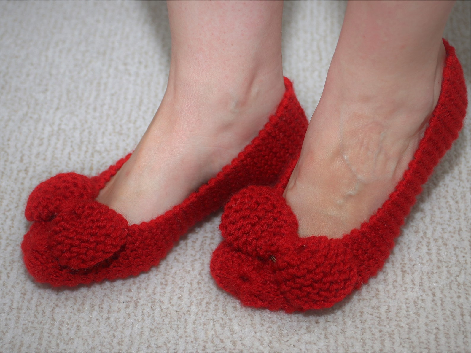 knit slippers, red slippers, slippers with bow, indoor shoes, ballet shoes, women knit socks, knit socks, wool knit socks