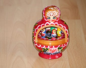 Russian Matryoshka wooden Doll Matryoshka Babushka Musicmatyoshka Musikmatroschka 17 cm