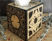 HELLRAISER Wooden PUZZLE BOX - Handmade Tissue Box Dispenser - Lament Configuration Box - Lemarchand's Box - Free Gift With Purchase!
