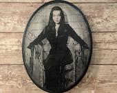 Morticia Addams - The Addams Family - Carolyn Jones - Wood Portrait Wall Plaque - Handmade wood ink transfer