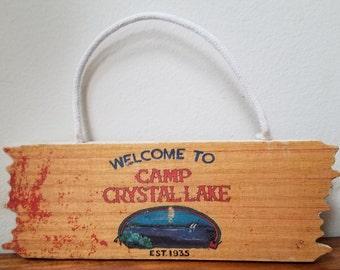 d45ba3c49 Handmade wood ink transfer Camp Crystal Lake Friday the 13th Mini Sign  plaque door hanger