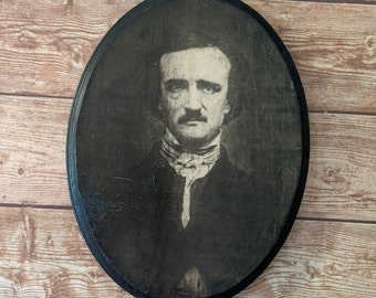 Edgar Allan Poe Portrait Wooden Sign Wall Plaque - Handmade wood ink transfer