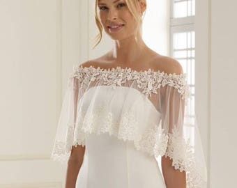 Lace and tulle poncho cover up